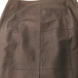 WHBM black leather skirt with front slit